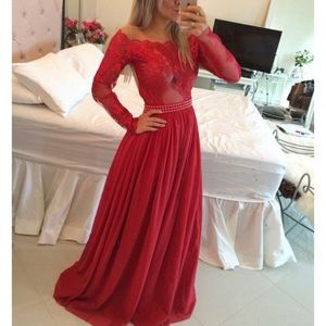 Red long sleeve prom dress :)